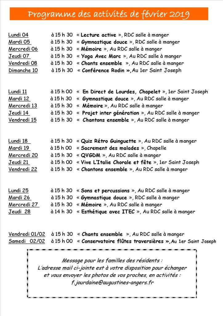 Programme du mois de février