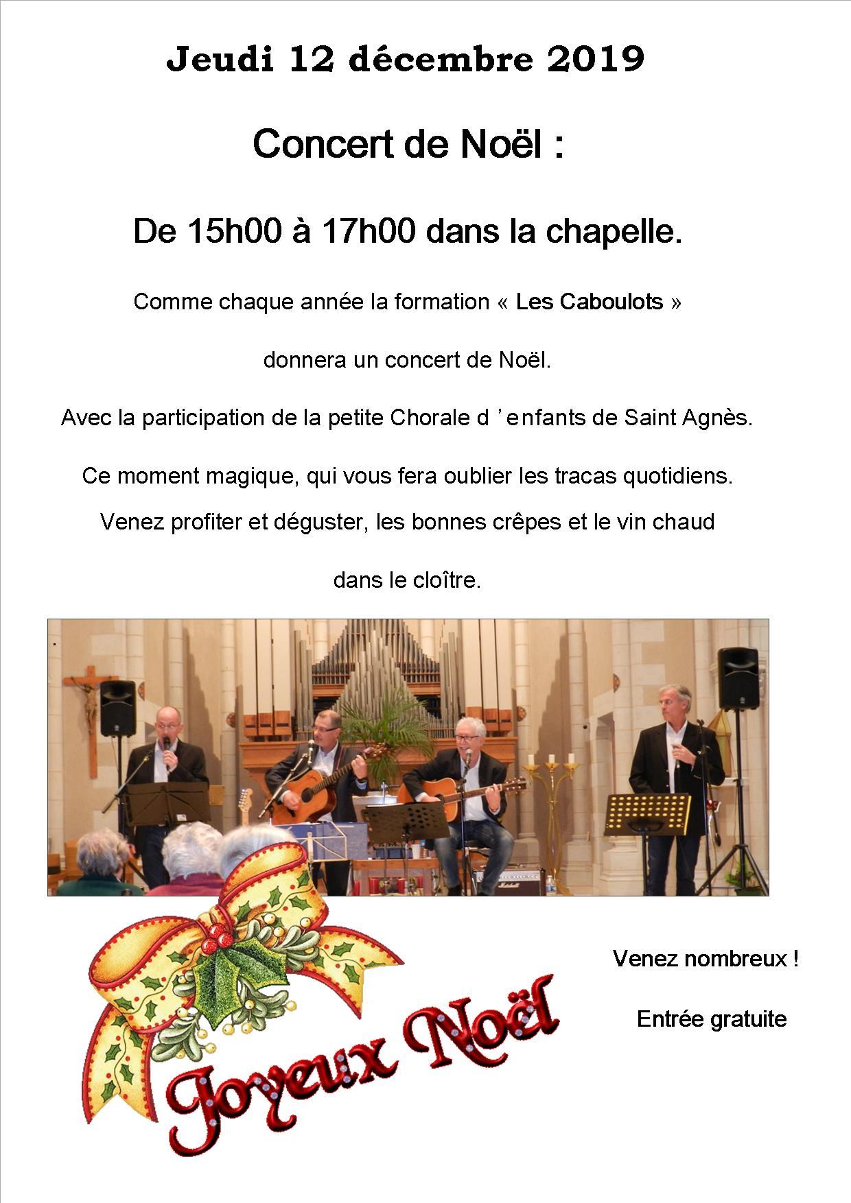 Concert de Noël avec les Caboulots le 12 décembre 2019